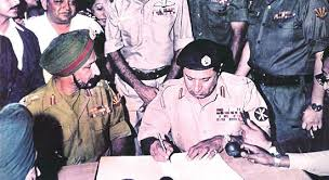 Pakistani General surrenders the Indian army .