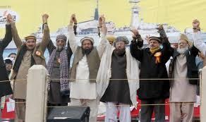 The terrorist Hafiz saeed with other terrorists in Pakistan