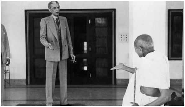 Jinnah ( the evil) and Gandhiji ( the angel).