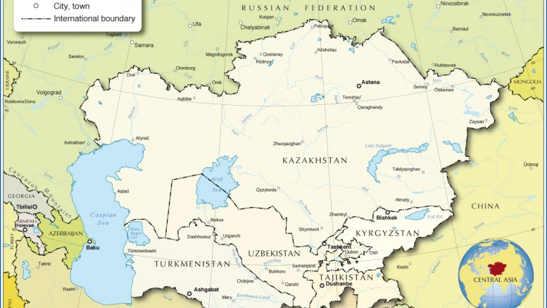 Political Map Of Central Asia.Political Map Of Central Asia And Caucasus