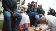 Pope washes feet of Muslim migrants during the foot-washting rituals