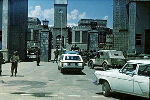 Outside the presidential palace gate (Arg) in Kabul, the day after the Saur revolution on 28 April 1978