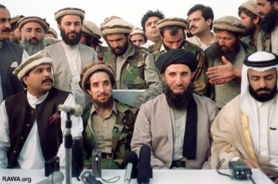 Afhgan Mujahideen leaders with Pakistan and Saudi Arabia personnel