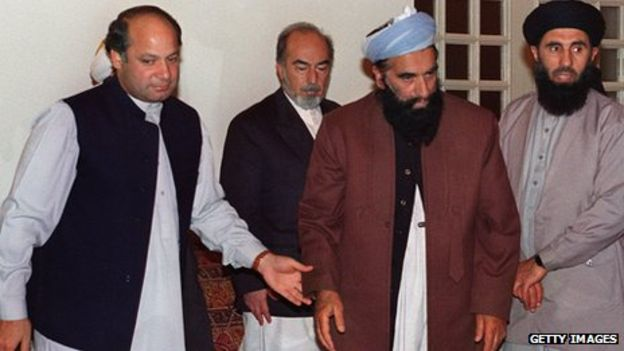 The then Prime minister of Pakistan , Nawaz Sharif, with the Mujahideen.