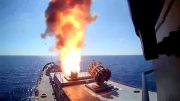 Russian battleships & submarine fire 6 cruise missiles