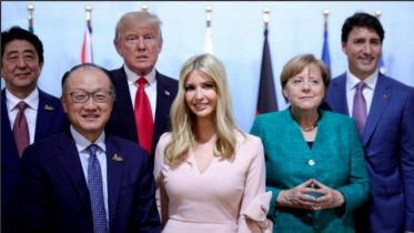 Outrage after Ivanka sits