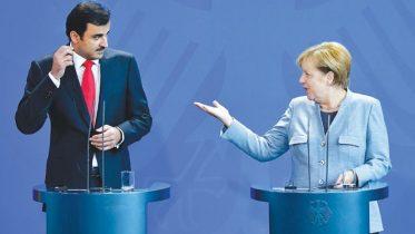 Qatari emir meets Merkel, Macron